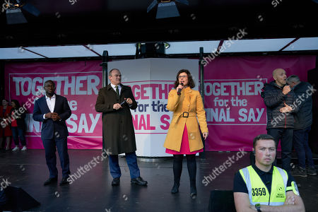 Layla Moran, Ed Davey and Sam Gyimah address the People's Vote March in Parliament Square
