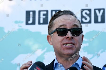 Qantas CEO Alan Joyce speaks to the media during a press conference at Sydney International Airport in Sydey, Australia, 20 October 2019. Qantas completed a record-breaking commercial flight, flying from New York to Sydney without stopping. The flight took 19 hours and 15 minutes.