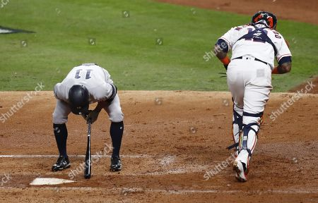 New York Yankees batter Brett Gardner (L) reacts after being called out on strikes to end the top of the second inning of their MLB American League Championship Series playoff baseball game six at Minute Maid Park in Houston, Texas, USA, 19 October 2019. The winner of the best-of-seven series will go on to face the Washington Nationals in the World Series.