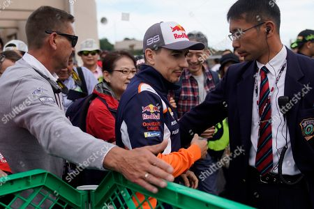 Spanish MotoGP rider Jorge Lorenzo (C) of Repsol Honda Team arrives at Twin Ring Motegi ahead of the Japanese Motorcycle Grand Prix in Motegi, Tochigi Prefecture, Japan, 20 October 2019.