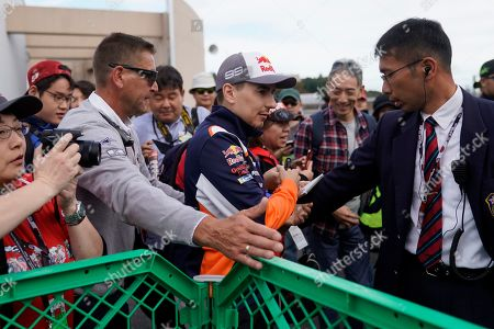 Stock Image of Spanish MotoGP rider Jorge Lorenzo (C) of Repsol Honda Team arrives at Twin Ring Motegi ahead of the Japanese Motorcycle Grand Prix in Motegi, Tochigi Prefecture, Japan, 20 October 2019.