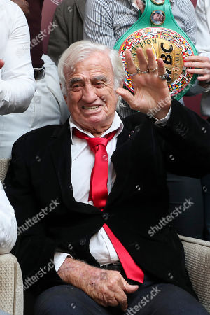 Stock Picture of Jean-Paul Belmondo guest star at the Golden Gloves (Gants d'Or) boxing award ceremony in Brussels