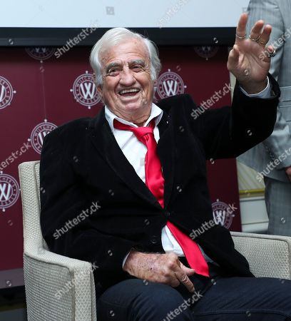 Stock Photo of Jean-Paul Belmondo guest star at the Golden Gloves (Gants d'Or) boxing award ceremony in Brussels
