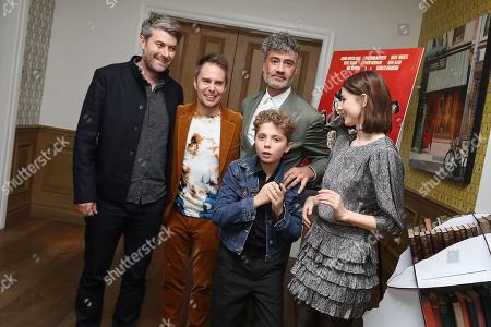 Stock Image of Carthew Neal (Producer), Sam Rockwell, Taika Waititi (Director), Roman Griffin Davis and Thomasin McKenzie