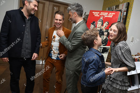 Stock Picture of Carthew Neal (Producer), Sam Rockwell, Taika Waititi (Director), Roman Griffin Davis and Thomasin McKenzie