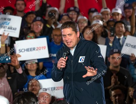 Canadian Conservative Party leader Andrew Scheer addresses his supporters at a campaign rally in Richmond Hill, Ontario, Canada, 19 October 2019. Canadians will vote in the country's 43rd federal election on 21 October 2019.