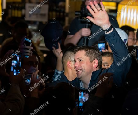 Canadian Conservative Party leader Andrew Scheer waves to supporters at the end of a campaign rally in Richmond Hill, Ontario, Canada, 19 October 2019. Canadians will vote in the country's 43rd federal election on 21 October 2019.