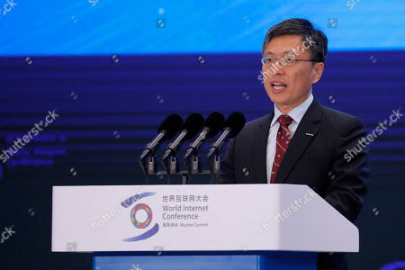 Stock Image of Harry Shum, Executive Vice President of Artificial Intelligence (AI) & Research at Microsoft, delivers his speech during the opening ceremony of the 6th World Internet Conference, also known as Wuzhen Summit, in Wuzhen, China, 20 October 2019. The summit runs from 20 October through to 22 October 2019.