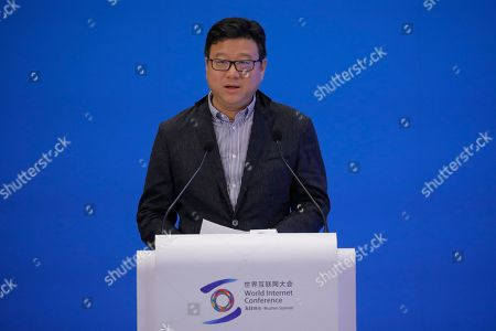 Stock Photo of Ding Lei, founder and CEO of NetEase, delivers a speech during a business leader's dialogue at the 6th World Internet Conference, also known as Wuzhen Summit, in Wuzhen, China, 20 October 2019. The summit runs from 20 October through to 22 October 2019.