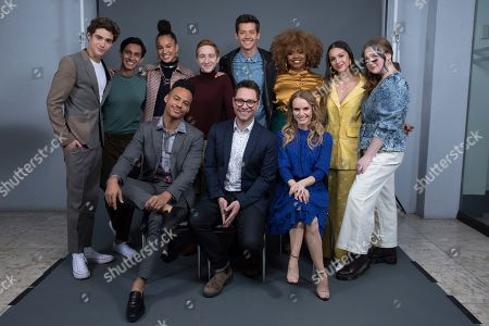 "Stock Picture of Joshua Bassett, Frankie A. Rodriguez, Mark St. Cyr, Sofie Wylie, Larry Saperstein, Matt Cornett, Tim Federle, Dara Renne, Kate Reinders, Olivia Rodrigo, and Julia Lester. Joshua Bassett, on left, Frankie A. Rodriguez, Mark St. Cyr, Sofie Wylie, Larry Saperstein, Matt Cornett, Tim Federle, Dara Renne, Kate Reinders, Olivia Rodrigo, and Julia Lester pose at the Disney + launch event promoting ""High School Musical: The Musical: The Series"" at the London West Hollywood hotel on in West Hollywood, Calif"