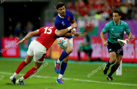 Wales vs France. Wales' Liam Williams and Romain Ntamack of France