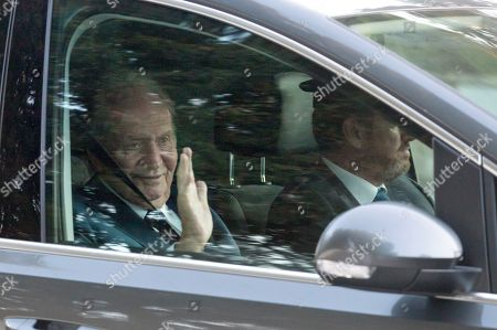 Spain's King Juan Carlos I leaves Sa Fortalesa in Pollenca, Majorca, Balearic Islands, Spain, 19 October 2019 (issued 20 October 2019), after attending Spanish tennis player Rafael Nada's wedding. Nadal married long-time partner Maria Francisca Perello 'Xisca' on a private ceremony held at the Pollenca Bay in Majorca.