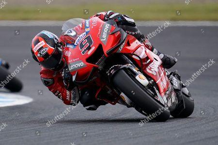 Italian MotoGP rider Danilo Petrucci of Ducati Team in action during the race of the MotoGP Motorcycling Grand Prix of Japan in Motegi, Tochigi Prefecture, north of Tokyo, 20 October 2019.