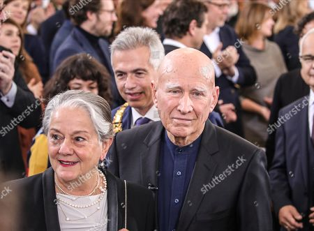 Brazilian photographer and author Sebastiao Salgado (L) accompanied by his wife Lelia Wanick Salgado attend the award Peace Prize ceremony of the German Book Trade in Frankfurt Main, Germany, 20 October 2019.  Sebastiao Salgado is awarded with the Peace Prize of the German Book Trade by the German Publishers and Booksellers Association (Boersenverein des Deutschen Buchhandels) on the sidelines of the Frankfurt Book Fair.  He won the German book trade Peace Prize for raising awareness about environmental destruction and the climate crisis