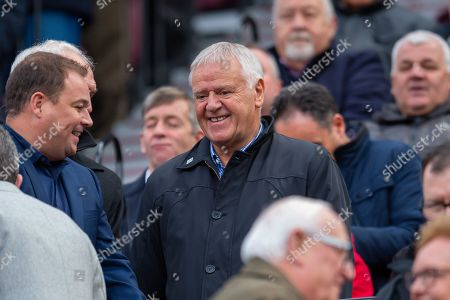 Former Hearts manager Jim Jeffries takes his seat in the stand before the Ladbrokes Scottish Premiership match between Heart of Midlothian and Rangers FC at Tynecastle Park, Edinburgh