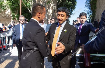 United Arab Emirates Foreign Minister, Sheikh Abdullah bin Zayed Al Nahyan (C-R), is welcomed by Italian Foreign Minister Luigi Di Maio (C-L) upon his arrival at the 'One Year to Go' event in Matera, southern Italy, 20 October 2019. The event represents a symbolic passing of the torch from Expo Milano 2015 and Expo Dubai 2020, at exactly one year from its opening. Expo Dubai 2020, which will run from 20 October 2020 to 10 April 2021, will be dedicated to the theme 'Connecting Minds, Creating the Future'.