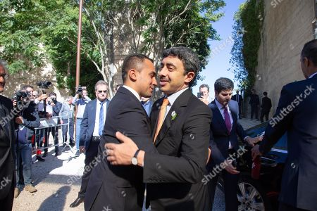 United Arab Emirates Foreign Minister, Sheikh Abdullah bin Zayed Al Nahyan (R), is welcomed by Italian Foreign Minister Luigi Di Maio (L) upon his arrival at the 'One Year to Go' event in Matera, southern Italy, 20 October 2019. The event represents a symbolic passing of the torch from Expo Milano 2015 and Expo Dubai 2020, at exactly one year from its opening. Expo Dubai 2020, which will run from 20 October 2020 to 10 April 2021, will be dedicated to the theme 'Connecting Minds, Creating the Future'.