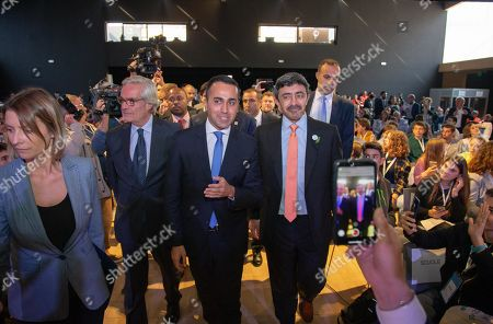 United Arab Emirates Foreign Minister, Sheikh Abdullah bin Zayed Al Nahyan (C-R), and Italian Foreign Minister Luigi Di Maio (C-L) attend the 'One Year to Go' event in Matera, southern Italy, 20 October 2019. The event represents a symbolic passing of the torch from Expo Milano 2015 and Expo Dubai 2020, at exactly one year from its opening. Expo Dubai 2020, which will run from 20 October 2020 to 10 April 2021, will be dedicated to the theme 'Connecting Minds, Creating the Future'.