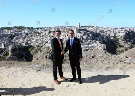 Stock Image of Italian Foreign Minister Luigi Di Maio (R) and United Arab Emirates Foreign Minister, Sheikh Abdullah bin Zayed Al Nahyan (L), on the occasion of the 'One Year to Go' event in Matera, southern Italy, 20 October 2019. The event represents a symbolic passing of the torch from Expo Milano 2015 and Expo Dubai 2020, at exactly one year from its opening. Expo Dubai 2020, which will run from 20 October 2020 to 10 April 2021, will be dedicated to the theme 'Connecting Minds, Creating the Future'.