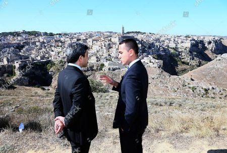 Italian Foreign Minister Luigi Di Maio (R) and United Arab Emirates Foreign Minister, Sheikh Abdullah bin Zayed Al Nahyan (L), on the occasion of the 'One Year to Go' event in Matera, southern Italy, 20 October 2019. The event represents a symbolic passing of the torch from Expo Milano 2015 and Expo Dubai 2020, at exactly one year from its opening. Expo Dubai 2020, which will run from 20 October 2020 to 10 April 2021, will be dedicated to the theme 'Connecting Minds, Creating the Future'.