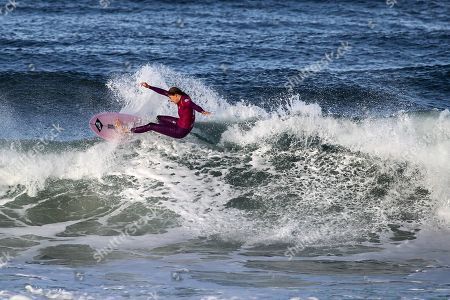 Stock Picture of The Australian surfer Stephanie Gilmore (former world champion) during the stage of the World Surfing Championship, that takes place in Praia Super Tubos, in Peniche, Portugal 20 October, 2019.