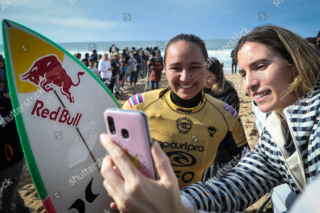 The Hawaiian surfer Carissa Moore (number one in WSL world champion) during the stage of the World Surfing Championship, that takes place in Praia Super Tubos, in Peniche, Portugal 20 October, 2019.
