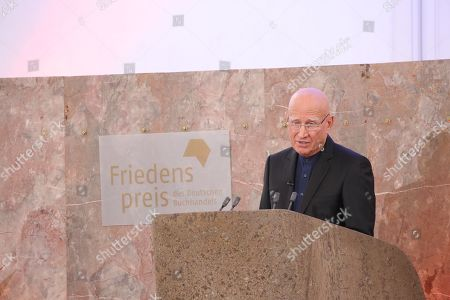 Brazilian photographer and author Sebastiao Salgado address the crowd after being awarded with Peace Prize of the German Book Trade in Frankfurt Main, Germany, 20 October 2019. Sebastiao Salgado is awarded with the Peace Prize of the German Book Trade by the German Publishers and Booksellers Association (Boersenverein des Deutschen Buchhandels) on the sidelines of the Frankfurt Book Fair.  He won the German book trade Peace Prize for raising awareness about environmental destruction and the climate crisis.