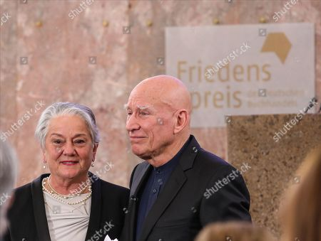 Brazilian photographer and author Sebastiao Salgado (R) accompanied by his wife Lelia Wanick Salgado after receive the award Peace Prize ceremony of the German Book Trade in Frankfurt Main, Germany, 20 October 2019. Sebastiao Salgado is awarded with the Peace Prize of the German Book Trade by the German Publishers and Booksellers Association (Boersenverein des Deutschen Buchhandels) on the sidelines of the Frankfurt Book Fair. He won the German book trade Peace Prize for raising awareness about environmental destruction and the climate crisis