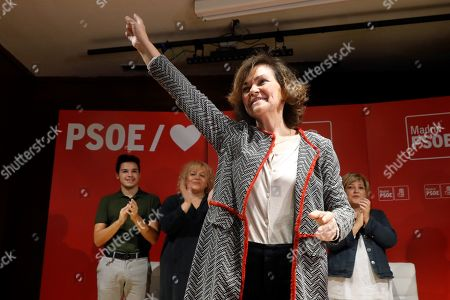 Spanish acting deputy Prime Minister Carmen Calvo attends an electoral rally in San Fernando de Henares in Madrid, Spain, 20 October 2019. Spain will be holding elections 10 November after acting Prime Minister Pedro Sanchez failed to form government.
