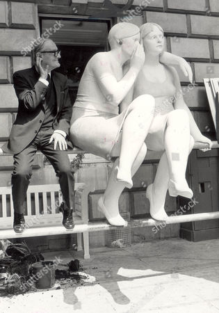Mischievous Eavesdropper Sitting Beside A Sculpture Called The Whisper Is Royal Academy President Sir Hugh Casson Notwithstanding The Clandestine Tableau Sir Hugh Made No Secret Yesterday That The 14 000 Exhibits At The Academy's 215th Summer Show Reflect The Lighter Side Of Life The Rebirth Of Wit And Humour. The Picture Was Taken In 1983 And Sir Hugh Died In 1999