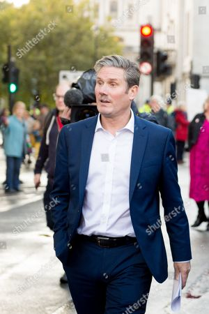 Stock Picture of People's Vote Anti Bexit protest march for a vote on Brexit, Shadow Secretary of State for Exiting the European Union Keir Starmer