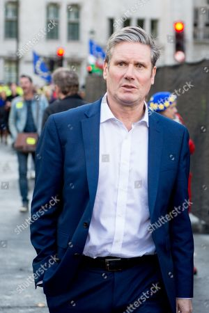 Stock Photo of People's Vote Anti Bexit protest march for a vote on Brexit, Shadow Secretary of State for Exiting the European Union Keir Starmer