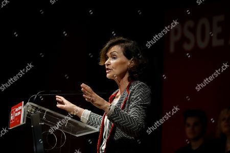 Spanish acting deputy Prime Minister, Carmen Calvo, delivers a speech during an electoral rally held in San Fernando de Henares in Madrid, Spain, 20 October 2019. Spain will be holding elections 10 November after acting Prime Minister Pedro Sanchez failed to form Government.