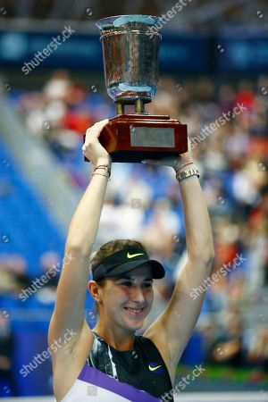 Stock Image of Belinda Bencic of Switzerland holds her trophy after victory over Anastasia Pavlyuchenkova of Russia in the final match of the Kremlin Cup tennis tournament in Moscow, Russia