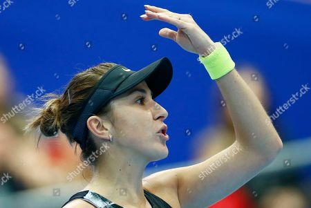 Belinda Bencic of Switzerland reacts during the final match of the Kremlin Cup tennis tournament against Anastasia Pavlyuchenkova of Russia in Moscow, Russia