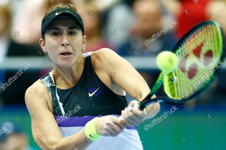 Belinda Bencic of Switzerland returns against Anastasia Pavlyuchenkova of Russia during the final match of the Kremlin Cup tennis tournament in Moscow, Russia