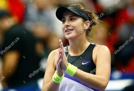 Belinda Bencic of Switzerland celebrates her victory over Anastasia Pavlyuchenkova of Russia in the final match of the Kremlin Cup tennis tournament in Moscow, Russia