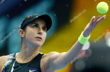 Belinda Bencic of Switzerland serves during the final match of the Kremlin Cup tennis tournament against Anastasia Pavlyuchenkova of Russia in Moscow, Russia