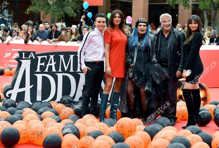 Italian actors Luciano Spinelli, Virginia Raffaele, Italian singer Loredana Berte', Italian actors Pino Insegno and Eleonora Gaggero arrive for the screening of ''La famiglia Addams'' at the 14th annual Rome Film Festival, in Rome, Italy, 20 October 2019. The film festival runs from 17 to 27 October.
