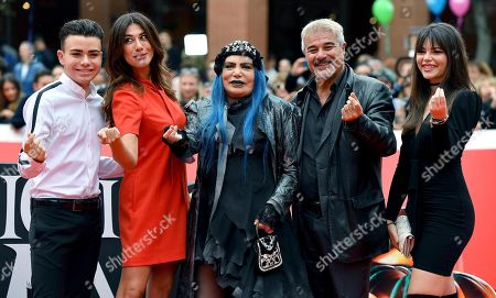 Italian actors Luciano Spinelli, Virginia Raffaele, Italian singer Loredana Berte', Pino Insegno and Eleonora Gaggero arrive for the screening of 'La famiglia Addams' at the 14th annual Rome Film Festival, in Rome, Italy, 20 October 2019. The film festival runs from 17 to 27 October 2019.