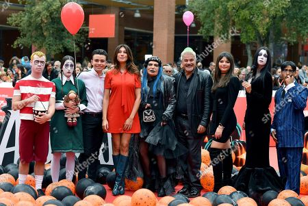 Stock Photo of (3L-3R) Italian actors Luciano Spinelli, Virginia Raffaele, Italian singer Loredana Berte', Italian actors Pino Insegno and Eleonora Gaggero arrive with others for the screening of 'La famiglia Addams' at the 14th annual Rome Film Festival, in Rome, Italy, 20 October 2019. The film festival runs from 17 to 27 October 2019.