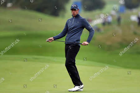 Nicolas Colsaerts of Belgium reacts after missing a putt during the last day of the Amundi French Open, at Le Golf National in Saint-Quentin-en-Yvelines, outside Paris, France