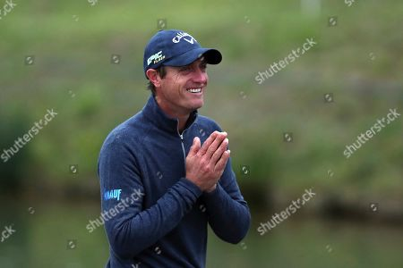 Stock Picture of Nicolas Colsaerts of Belgium reacts after winning the Amundi French Open, at Le Golf National in Saint-Quentin-en-Yvelines, outside Paris, France