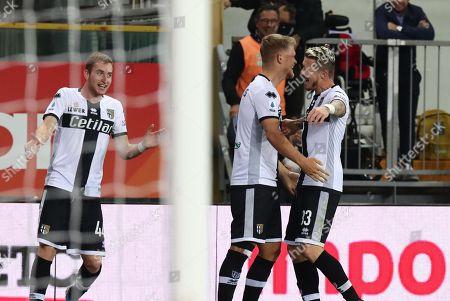 Parma's  Andreas Cornelius (C) celebrates with his teammates after scoring the 4-0 goal during the Italian Serie A soccer match Parma Calcio vs Genoa CFC at Ennio Tardini stadium in Parma, Italy, 20 October 2019.