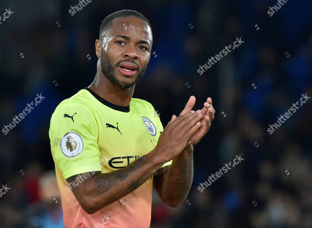 Manchester City's Raheem Sterling during the English Premier League soccer match between Crystal Palace and Manchester City at Selhurst Park in London, England