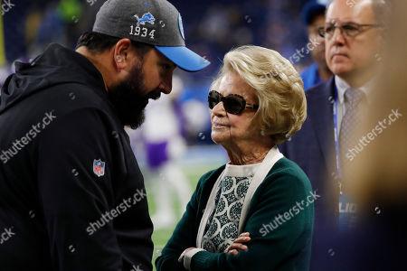 Detroit Lions head coach Matt Patricia talks with team owner Martha Ford during pregame of an NFL football game, in Detroit