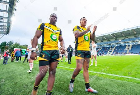 Jamaica's Mo Agoro & Greg Johnson thank their fans for support after their loss to England.