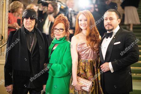 Austrian artist Gottfried Helnwein (L), Renate Helnwein (2-L), German model Barbara Meier (2-R) and partner Klemens Hallmann (R) arrive at the European Cultural Award in Vienna, Austria, 20 October 2019.
