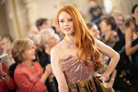 German model Barbara Meier arrives at the European Cultural Award in Vienna, Austria, 20 October 2019.