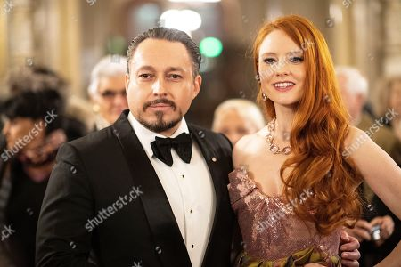 German model Barbara Meier (R) and partner Klemens Hallmann arrive at the European Cultural Award in Vienna, Austria, 20 October 2019.